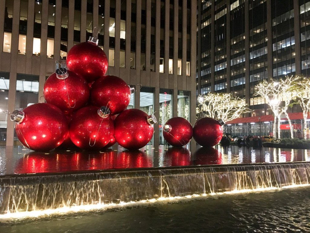 Large christmas ornaments in New York City