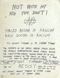 Protest Flier from a resident of Springfield, Massachusetts, to Louise Day Hicks, circa 1974.