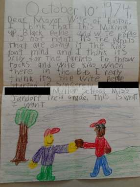 Letter from 3rd grade student to Mayor Kevin White, telling him he wants the violence between blacks and whites to stop. Image courtesy of Boston City Archives. Rights status is not evaluated.