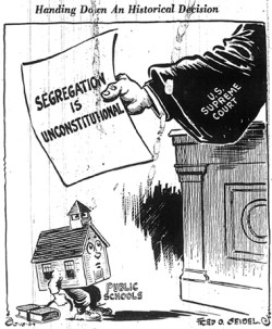 Political cartoon, 1954. Image courtesy of the Albert and Shirley Small Special Collections Library at the University of Virginia. Reproduction not permitted without prior permission, in writing, from the Albert and Shirley Small Special Collections Library.
