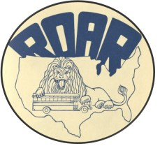 Logo of Restore Our Alienated Rights (ROAR), depicting a lion holding a school bus in its claws. Image from the Louise Day Hicks papers, courtesy of Boston City Archives.
