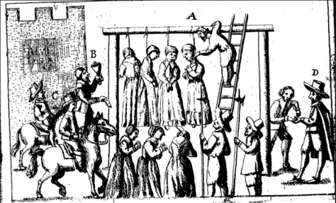 Woodcut of witches being hanged at gallows originally printed in Sir George Mackenzie, The laws and customes of Scotland (1678).