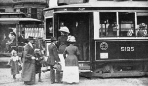 Bostonians entering a streetcar in the mid-1800s.