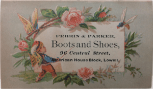"""Ferrin & Parker """"Boots and Shoes"""" nineteenth century business card"""