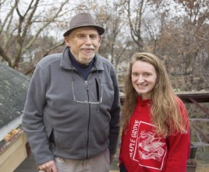 Blogpost author, Genny Peterson, right, interviewed Bob Haas for the Neigbhorhood Voices oral history project. Photo by Keiko Hiromi.