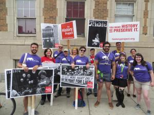 Joan Ilacqua and other volunteers for The History Project: Documenting LGBTQ Boston