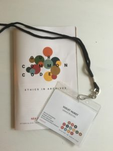 My name badge and program from the NEA Fall Meeting, October 26, 2018