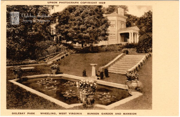 A 1929 postcard of the formal gardens next to what today is the Oglebay Institute Mansion Museum. From the Ellen Dunable Postcard Collection, Museums of Oglebay Institute
