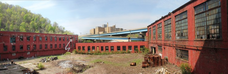 Panoramic view overlooking the courtyard of the Wheeling Hazel-Atlas factory.
