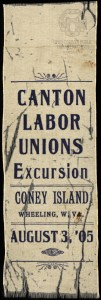 This rare and fragile ribbon dated 1905 is one of two known surviving artifacts of Coney Island.