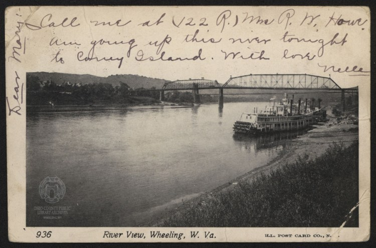 """This postcard postmarked July 22, 1905 shows the Ruth 2 at the Wheeling Wharf. The handwritten note reads: """"...going up this river tonight to Coney Island."""" Other than the ribbon included in this post, this is the only known surviving artifact beyond newspaper stories and maps that proves that Coney Island ever existed."""