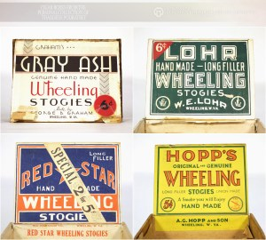 "A variety of cigar boxes featuring ""Wheeling Stogies"" labels. From the collections of Thaddeus Podratsky."