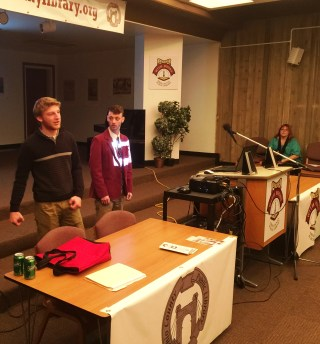 Austin Owens and Jacob Rice present their digital story at the Ohio County Public Library.
