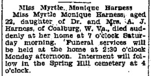 Myrtle Harness Obituary, Charleston Gazette, June 26, 1927.