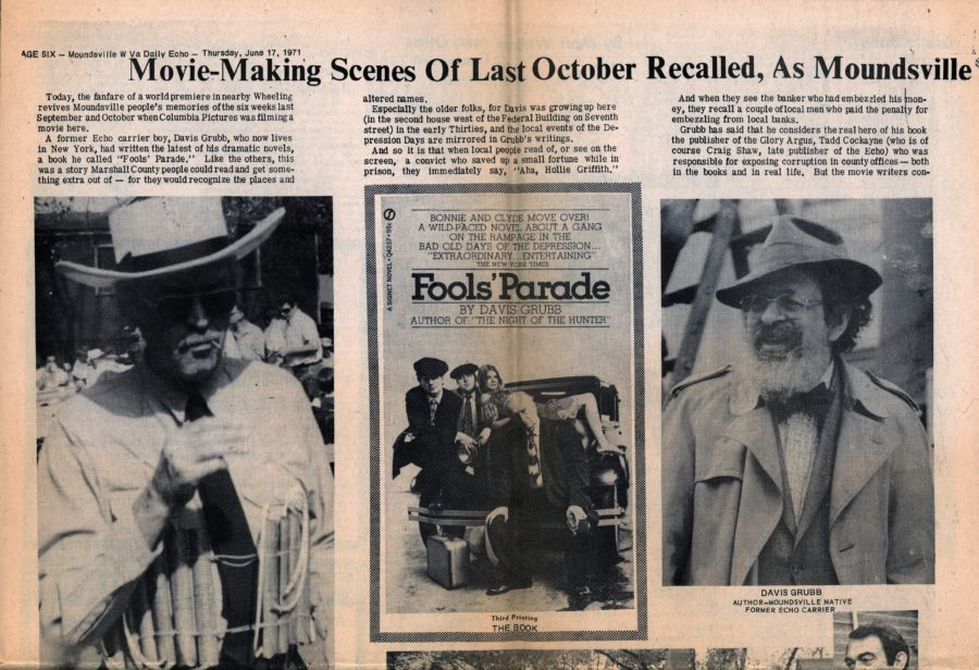 """Movie-Making Scenes of Last October Recalled, As Moundsville Parades to Wheeling to See ""Fools' Parade"" Tonight,""Moundsville W Va Daily Echo, June 17, 1971."