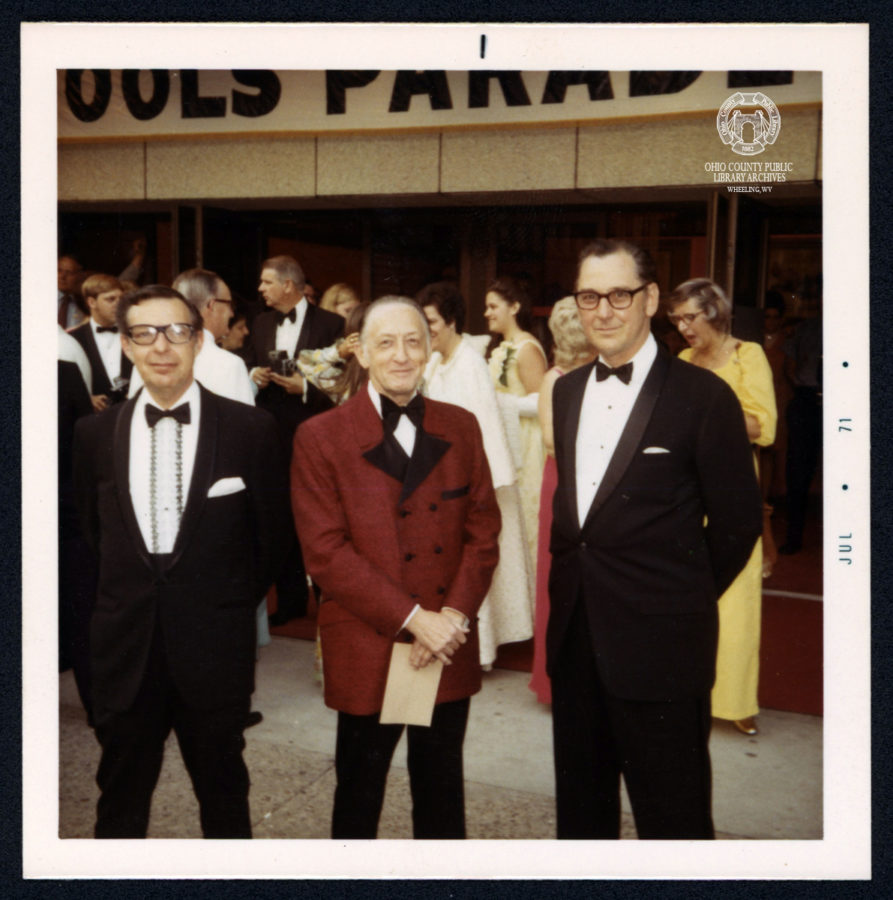 Melvin Katz (center) and Thomas Burns (right) outside the Court at the Fools' Parade premiere, June 17, 1971.