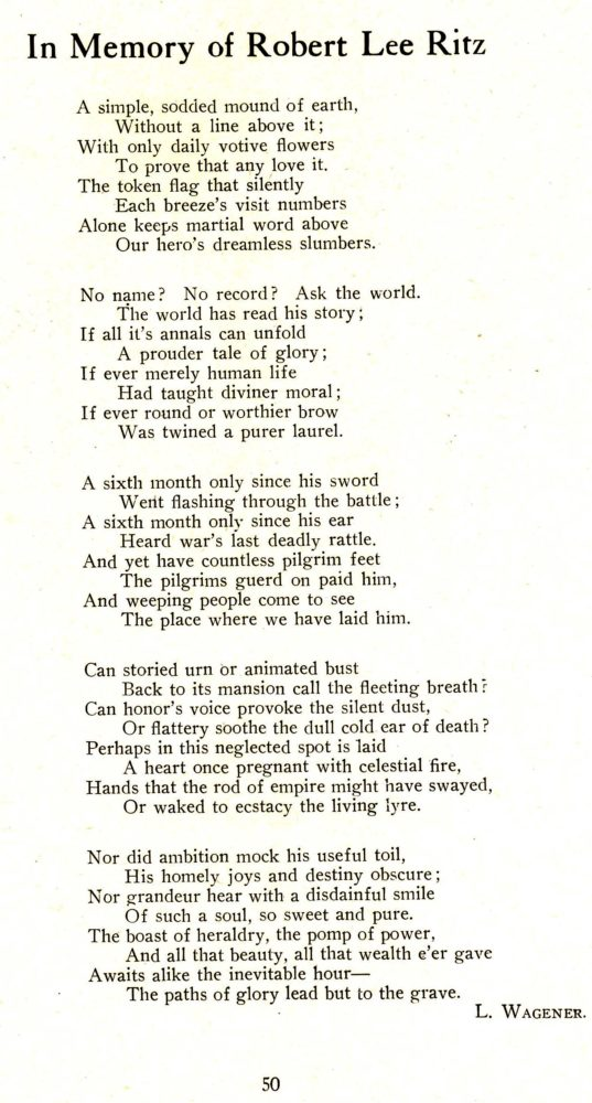 Bud Wagoner's poem for his friend Lee from the 1917 WHS Record.