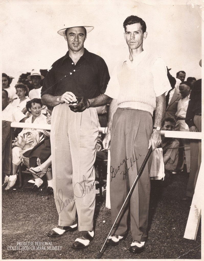 Autographed photo of Sam Snead & George Hoffer at Cedar Rocks. Photo courtesy of Mark Mumley, Biloxi, MS.