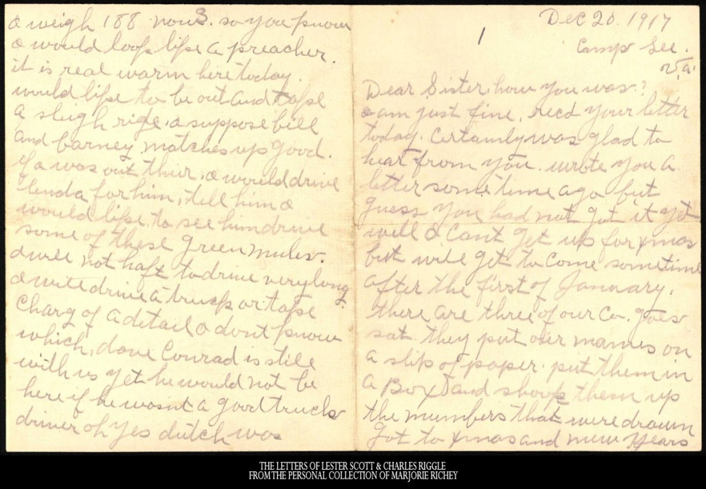 December 20, 1917: From Camp Lee to the Great War: The Letters of Lester Scott and Charles Riggle - From the personal collection of Marjorie Richey