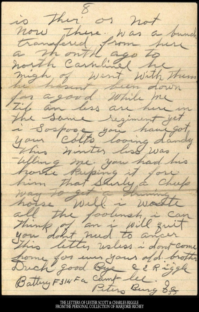 January 2, 1918: From Camp Lee to the Great War: The Letters of Lester Scott and Charles Riggle - From the personal collection of Marjorie Richey