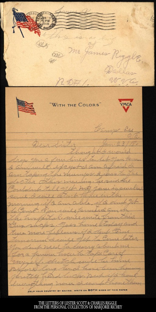 January 23, 1918: From Camp Lee to the Great War: The Letters of Lester Scott and Charles Riggle - From the personal collection of Marjorie Richey