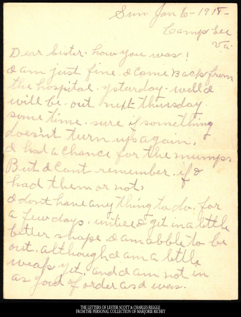 January 6, 1918: From Camp Lee to the Great War: The Letters of Lester Scott and Charles Riggle - From the personal collection of Marjorie Richey