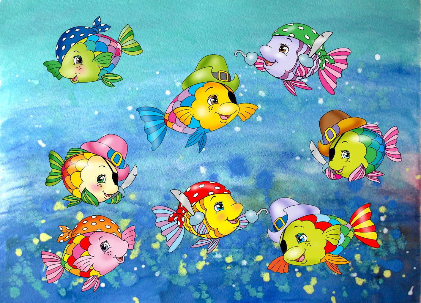 Un cartellone dei pesci pirata per l estate le news di for Disegni da colorare pesciolini