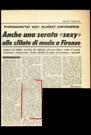 1967 STAMPA SERA Anche una serata sexy alle sflilate di moda a Firenze