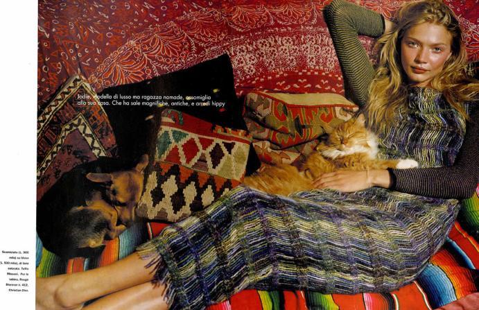 1999 ELLE Jodie modella di lusso ma ragazza nomade Scamiciato su blusa