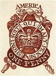 Sello emitido en Londres durante la Stamp Act.