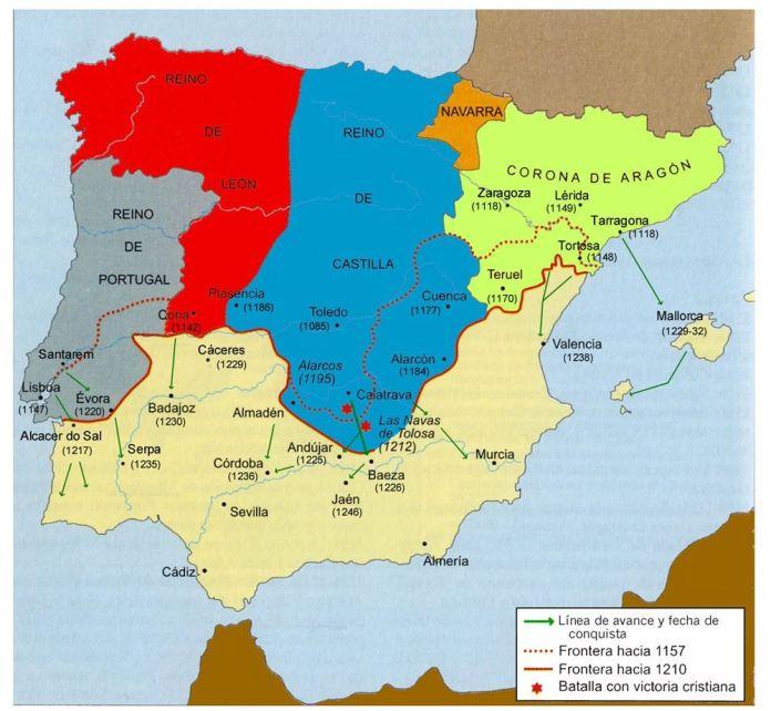 Mapa penisular entre 1157 y 1212