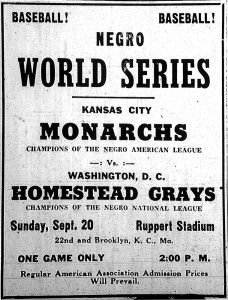 Cartel promocional de la Negro World Series de 1942