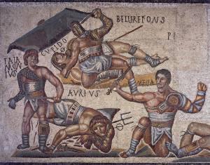 Mosaico de gladiadores de la Galeria Borghese de Roma