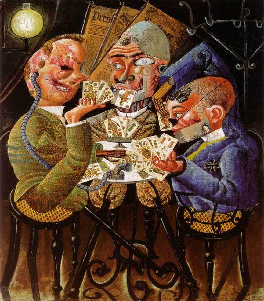 Imagen de Otto Dix trabajando sobre el lienzo