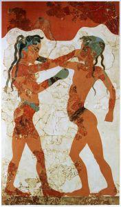 jóvenes minoicos boxeando