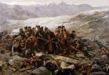 "William Barnes Wollen, ""The Last Stand of the 44th Regiment at Gundamuck, (1898) Chelmsford Museum, Essex."