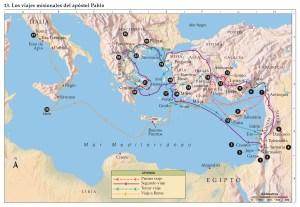 Mapa con los viajes de Pablo de Tarso