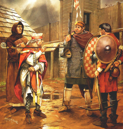 Representación de un monje, un obispo y un miles normando del siglo XI