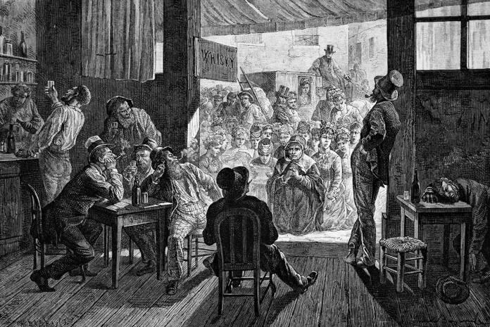 Grabado en el que se muestra a un grupo de mujeres rezando en la puerta de una taberna contra el consumo de alcohol (último tercio del siglo XIX). Autor desconocido.