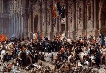 Lamartine frente al ayuntamiento de París rechaza la bandera roja el 25 de febrero de 1848 (s.XIX). Henri Félix Emmanuel Philippoteaux.