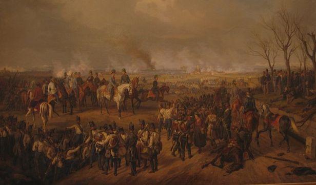 Radetzky con su estado mayor en Novara (1855). Albrecht Adam.