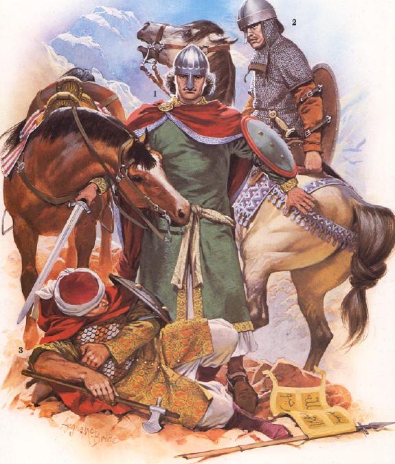 Imagen de dos soldados cristianos y uno musulmán con la indumentaria propia del siglo XI