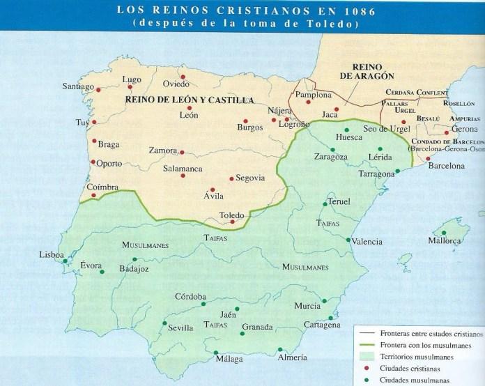 La Península Ibérica en 1086, mapa político
