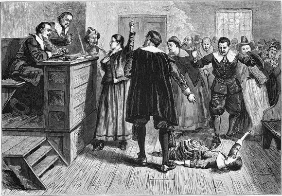 Ilustación de los juicios de Salem (William A. Crafts, 1876). En ella varias personas discuten entre sí y con los juicios mientras que una niña sufre espasmos en el suelo ante el asombro de los espectadores.