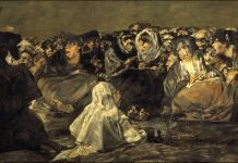 En este cuadro de Goya, el aquelarre, vemos a varias brujas en un encuentro con un macho cabrio que representaría al demonio.