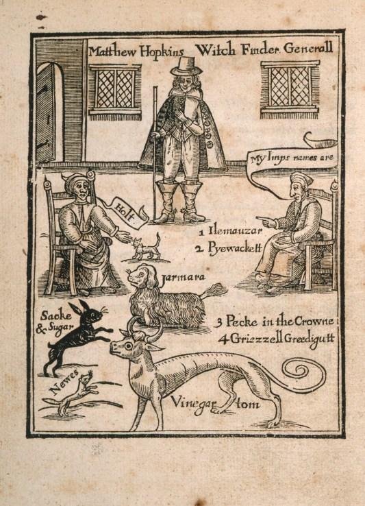 En esta ilustración de The Discovery of Witches (Matthew Hopkins, 1647) podemos ver a dos brujas que muestran a sus animales familiares (conejos, perros, seres mitologías y demás) al propio Matthew Hopkins.