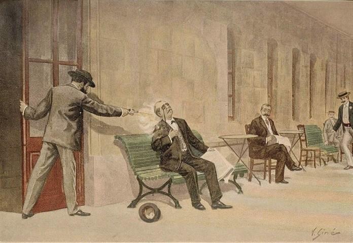 Ilustración que muestra uno de los atentados más polémicos de finales del XIX, el cometido contra Antonio Cánovas del Castillo en 1897 (V. Ginés) | Wikimedia