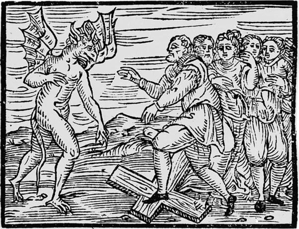 Ilustración del Malleus Malleficarum (Anónimo, 1486). Varios hombres y mujeres pisotean una cruz alentados por el diablo.