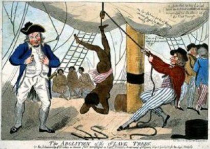 Caricatura sobre la esclavitud. El cambio de perspectiva sobre este fenómeno era cambiante y la religión tuvo relevancia en ello
