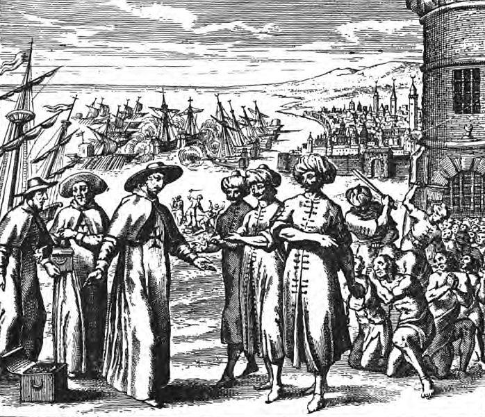 Curas rescatando cautivos (1637). Pierre Dan.